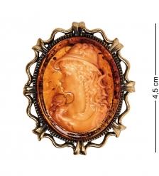 AM-2602 Брошь Камея Юность мал.  латунь, янтарь