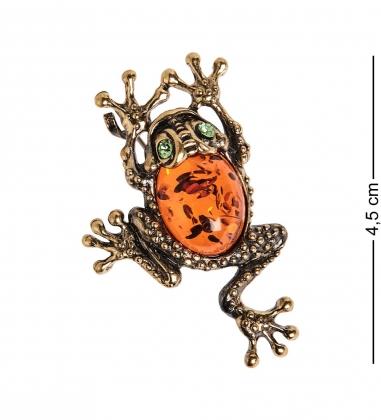 AM-2623 Брошь «Лягушка с кабашоном»  латунь, янтарь