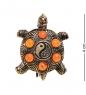 AM-2653 Брошь «Черепаха Инь-Янь»  латунь, янтарь