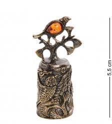 AM-2691 Колокольчик «Свиристели»  латунь, янтарь