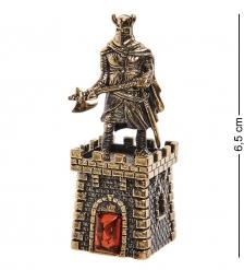 AM-2699 Колокольчик «Крепость Рыцарь с топором»  латунь, янтарь
