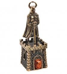 AM-2700 Колокольчик «Крепость Рыцарь с мечом»  латунь, янтарь