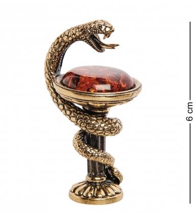 AM-2726 Фигурка «Змея сосуд Гигеи»  латунь, янтарь