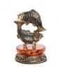 AM-2733 Фигурка «Знак зодиака-Рыбы»  латунь, янтарь