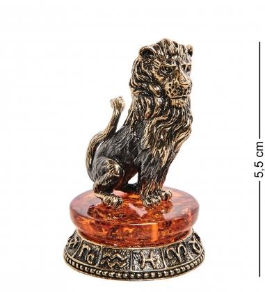 AM-2734 Фигурка «Знак зодиака-Лев»  латунь, янтарь