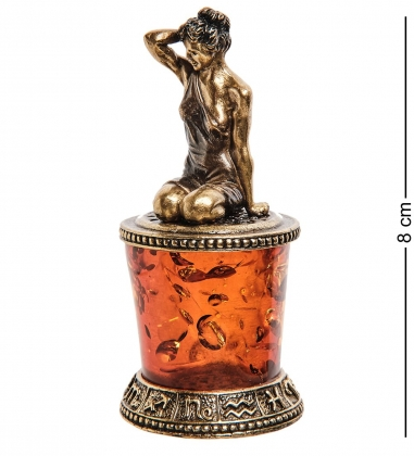 AM-2775 Фигурка «Знак зодиака-Дева»  латунь, янтарь