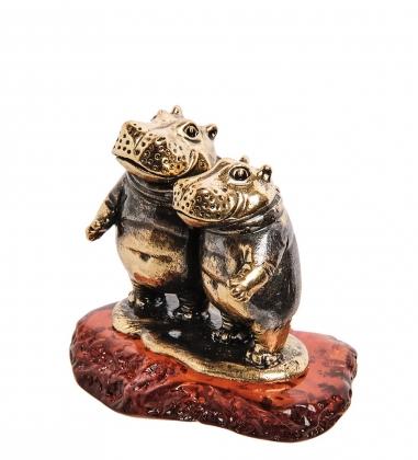 AM-2795 Фигурка «Парочка Бегемоты»  латунь, янтарь
