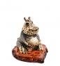 AM-2815 Фигурка «Бегемот праздник»  латунь, янтарь