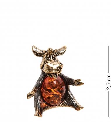 AM-2831 Фигурка «Бык обнимашки»  латунь, янтарь