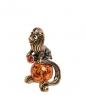 AM-2884 Фигурка «Знак зодиака-Лев»  латунь, янтарь