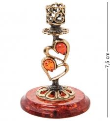 AM-2948 Подсвечник «Сердце»  латунь, янтарь