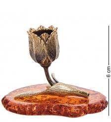 AM-2949 Подсвечник «Тюльпан»  латунь, янтарь