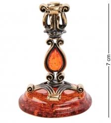 AM-2978 Подсвечник «Капля»  латунь, янтарь