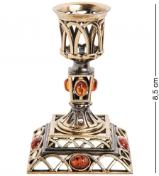 AM-2980 Подсвечник «Винтаж»  латунь, янтарь