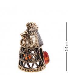 AM-2989 Наперсток «Петушок»  латунь, янтарь