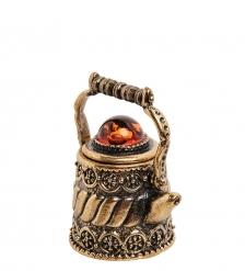 AM-3001 Наперсток «Чайник Ажурный»  латунь, янтарь