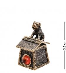 AM-3003 Наперсток «Будка с собакой»  латунь, янтарь