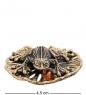 AM-3023 Фигурка «Лягушка на кувшинке с шарико»  латунь, янтарь