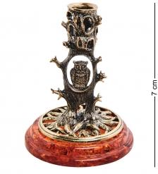 AM-3048 Подсвечник «Сова в лесу»  латунь, янтарь