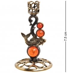 AM-3051 Подсвечник «Золотой карп»  латунь, янтарь