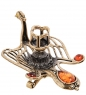 AM-3054 Подсвечник «Жар-птица»  латунь, янтарь