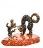 AM-3075 Фигурка Кот и Мышь задира  латунь, янтарь