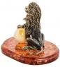 AM-3101 Фигурка «Лев Царь зверей»  латунь, янтарь