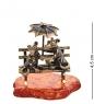 AM-3116 Фигурка «Пара мышей под зонтом»  латунь, янтарь