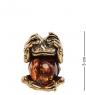 AM-3121 Фигурка «Лягушка не вижу»  латунь, янтарь