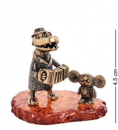 AM-3137 Фигурка «Крокодил Гена и Чебурашка»  латунь, янтарь