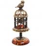 AM-3166 Фигурка «Птичка в клетке»  латунь, янтарь