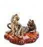 AM-3180 Фигурка «Тигр с тигрицей»  латунь, янтарь