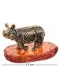 AM-3218 Фигурка «Носорог»  латунь, янтарь