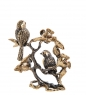 AM-3237 Фигурка Птички Синички на веточке  латунь, янтарь