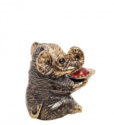AM-3256 Фигурка «Слон праздник»  латунь, янтарь