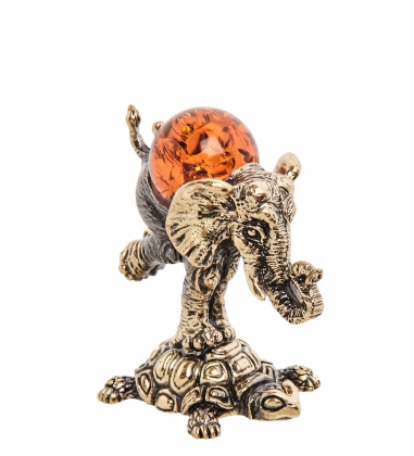 AM-3257 Фигурка Слон на черепахе  латунь, янтарь