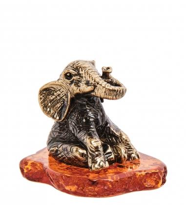 AM-3258 Фигурка «Слон Мудрость»  латунь, янтарь