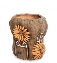 ZLC-58 Кашпо глиняное «Кактус с цветком», темное