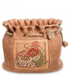 ZLC-65 Кашпо глиняное «Мешок с ромашками», оранжевое