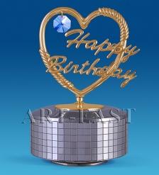 AR-3562/SB Фигурка музыкальная  Сердечко Happy Birthday   Юнион