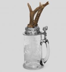 W-519-3R Пивная кружка с рожками косули с гравировкой эротика