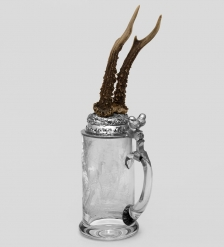 W-519-2R Пивная кружка с рожками косули с гравировкой