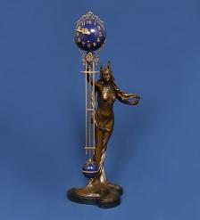 HXC-016 Фигура бронзовая с часами Аврора