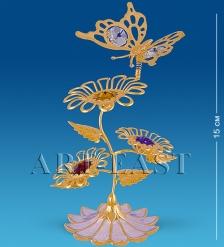 AR-1124/ 1 Композиция  Бабочка на трех цветках  с цв.кр.  Юнион