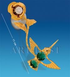 AR-3050/ 1 Фигурка на липучке  Колибри на розе  с цв.кр.  Юнион