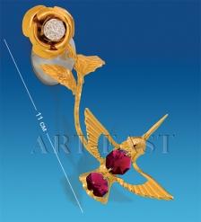AR-3050/ 2 Фигурка на липучке «Колибри на розе» с цв.кр.  Юнион