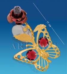 AR-3053/ 1 Фигурка на липучке  Бабочка на бордовой розе  с цв.кр.  Юнион