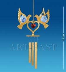 AR-3673/ 1 Поющий ветерок Сердечко с голубями с цв.кр.  Юнион