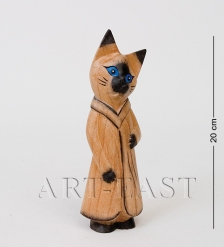 В2-0226 Статуэтка КОШКА с голубыми глазами в платье  суаровое дерево