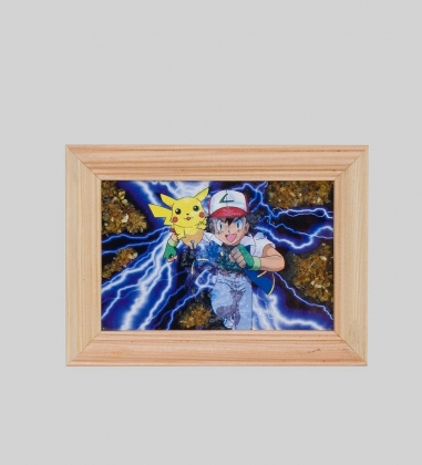 8*12 см картина с дерев. рамкой  ассорти